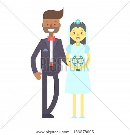 Wedding Couple, Cute Flat Characters, Groom And Bride