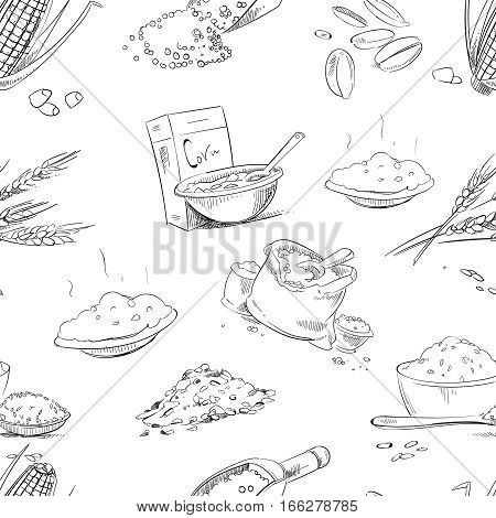 Organic farm grains and cereals, wheat and barley, rye or oats, rice vector seamless pattern. Background with doodle cereals, illustration of farm cereals