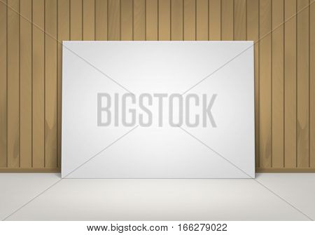 Vector Empty Blank White Mock Up Poster Picture Frame Standing on Floor with Brown Sienna Wooden Wall Front View