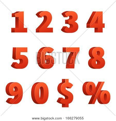 Red 3d numbers vector signs. Red figure numbers, illustration of order number and symbol dollar and percentage