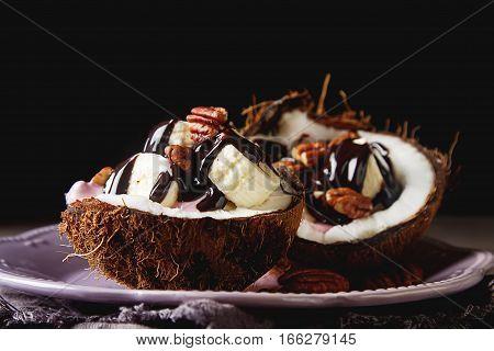 Fruit Salad With Coconut, Banana, Yogurka Drizzled With Hot Dark