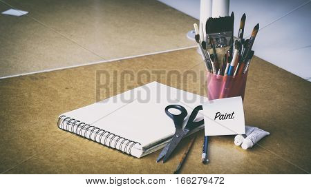 Colored Pencils, Watercolor Art, Brushes, Sheets Of Words On Paper