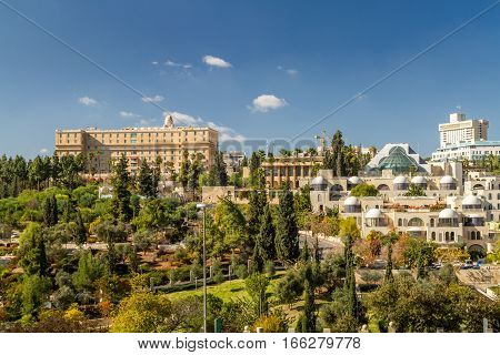 View of The King David Hotel from the wall of the Old City in Jerusalem Israel