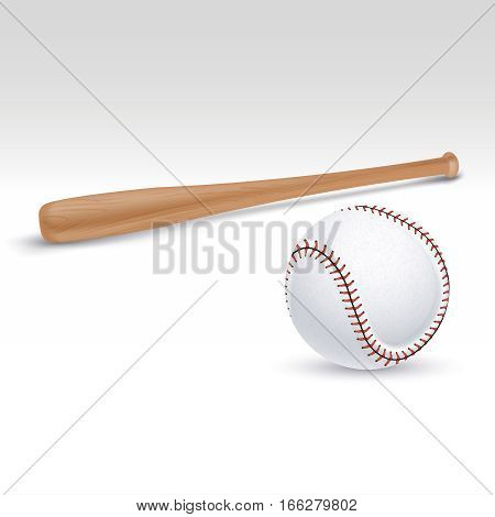 Baseball bat and ball vector illustration. Accessories for baseball game, wooden bat for play baseball