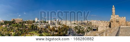 Panoramic view of Jerusalem from the wall of the Old City in Jerusalem Israel