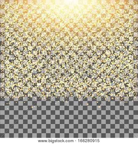 Gold glow glitter sparkles on transparent background.Falling dust. Vector illustration.