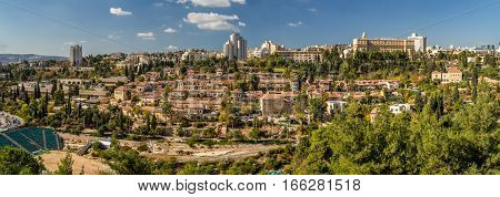 Panoramic view of Jerusalem historic neighborhood Yemin Moshe from the wall of the Old City in Jerusalem Israel