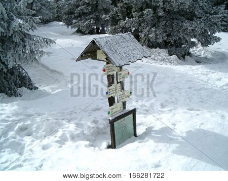 Photo of a signpost half buried in snow