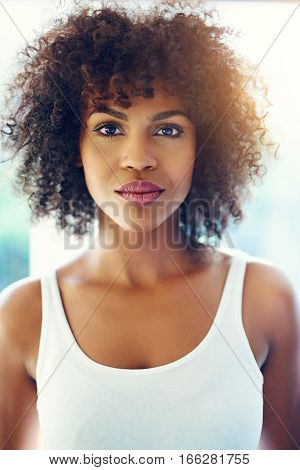 Young Black Woman With A Thoughtful Expression