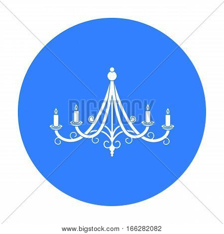 Chandelier icon in blue style isolated on white background. Light source symbol vector illustration