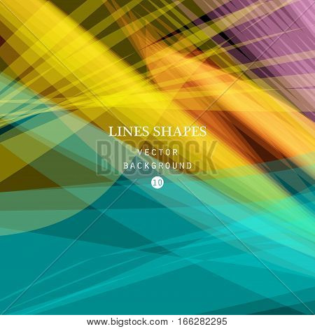 Bright colorful modern striped abstract background vector. Blue yellow red floral tropical stripes waves lines for banner brochure website and flyer design. Contrast of light shadow and colors