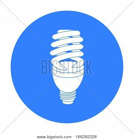 Fluorescent lightbulb icon in blue style isolated on white background. Light source symbol vector illustration
