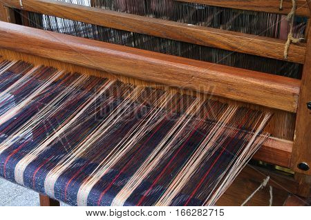 Very Old Wooden Frame For Spinning The Fabric With The Ancient T