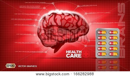 Digital vector red medicine brain structure infographics of mental healthcare mockup and pills, with your brand, ready for print ads or magazine design. White and shine, realistic 3d style
