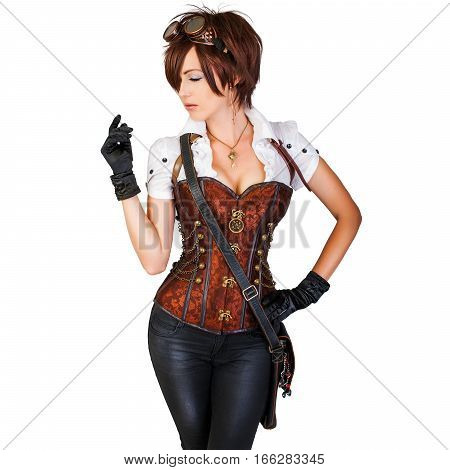 Portrait of a beautiful steampunk woman wearing vintage corset and retro goggles