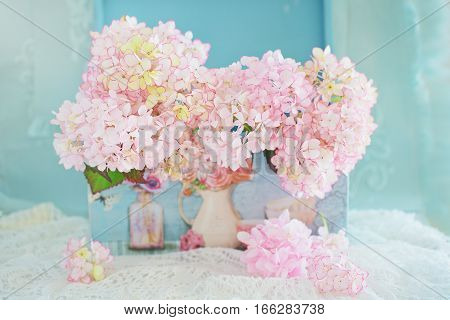 Beautiful hydrangea flowers in a beautiful box . Blue background .