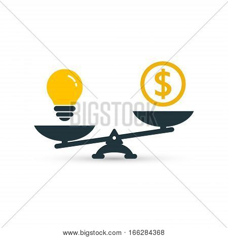 Light bulb and money on scales. Vector flat design business concept.