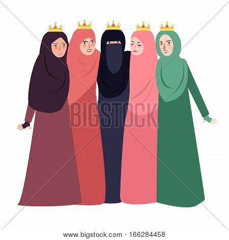 muslim woman wearing veil together people and friendship together beutiful girls Islam vector
