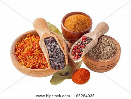Set of pilaf and other rice meals cooking spices. Barberry, cumin - zira, saffron, pepper and paprika