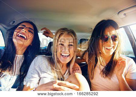 Three Vivacious Girlfriends On A Road Trip