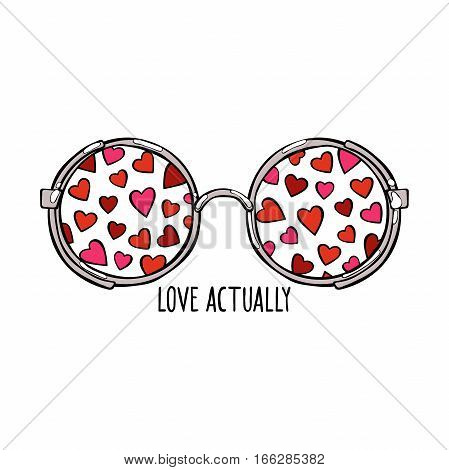 Love Actually. Sunglasses. Hearts. Isolated vector objects on white background.