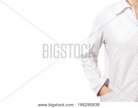 Female doctor in white medical robe isolated on white.