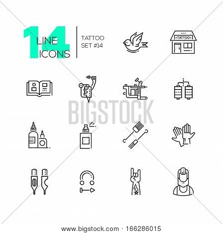 Tattoo Studio - modern vector line design icons set. Bird, storefront, sample book, tattoo machine, coils, ink, spray, needles, gloves cartridges piercing hand artist