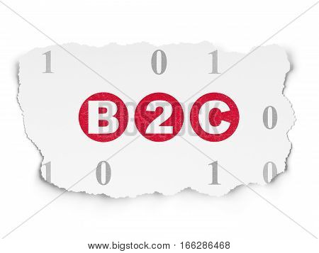 Finance concept: Painted red text B2c on Torn Paper background with  Binary Code