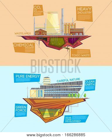 Eco friendly industry waste to energy system versus dangerous toxic pollution release 2 flat  banners isolated vector illustration