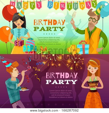 Birthday party celebration 2 festive horizontal banners set with presents sparklers ballons and cake isolated vector illustration