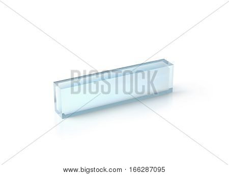 Blank transparent acrylic desk block mockup 3d rendering. Clear glass name plate design mock up. Empty plastic namplate template isolated on white. Corporate stationery plexiglass rectangle display