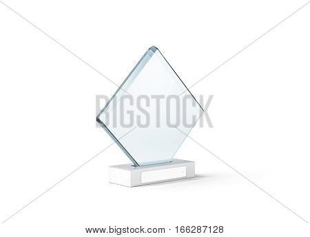Blank glass trophy mockup stand on clear marble base 3d rendering. Empty acrylic award design mock up. Transparent crystal prize plate template. First place prise plaque isolated on white.