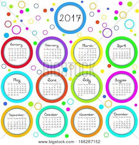 Calendar 2017 with colored circles and dots
