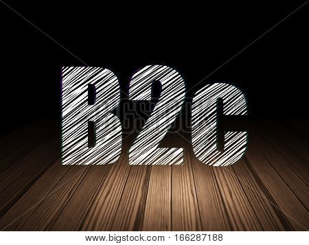 Business concept: Glowing text B2c in grunge dark room with Wooden Floor, black background