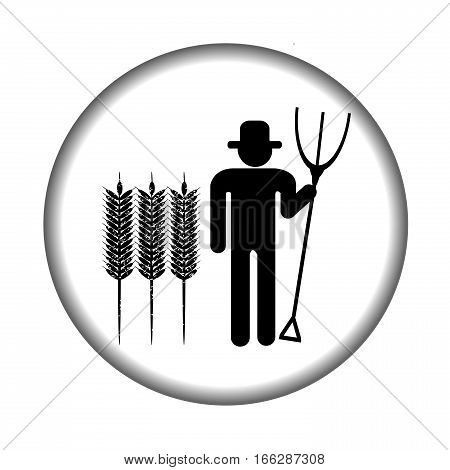 Farmer icon with pitchfork and grains on white background