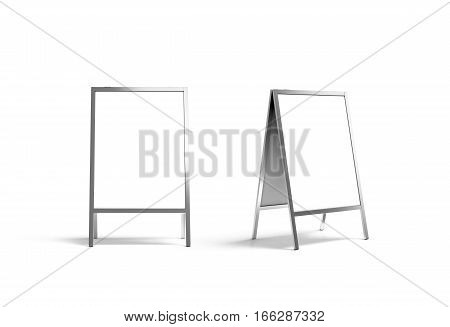 Blank white metallic outdoor stand mockup set isolated front and side view 3d rendering. Clear street signage board mock up. A-board with metal frame template.
