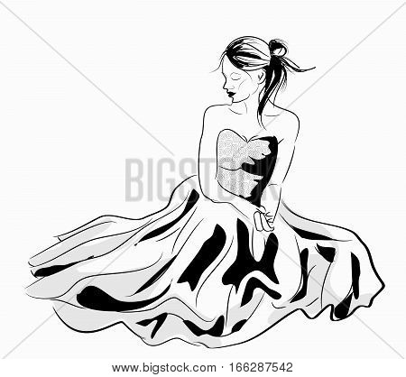 Vector illustration of young girl in beautiful dress sitting and looking down