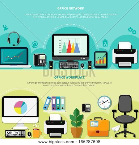 Office workplace for network horizontal banners with computers peripherals and elements of interior flat vector illustration