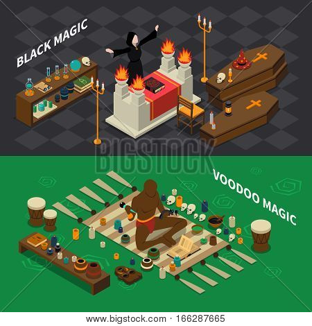 Isometric horizontal banners with black sorcery and voodoo magic with skulls book and drums isolated vector illustration