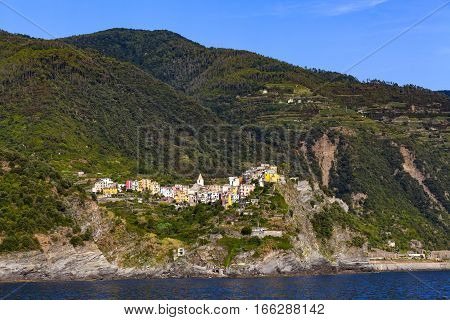 Corniglia one of five villages in Cinque Terre National Park and is a UNESCO World Heritage Site on Italian Riviera