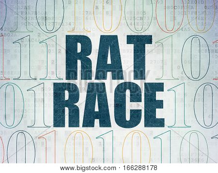 Finance concept: Painted blue text Rat Race on Digital Data Paper background with Binary Code