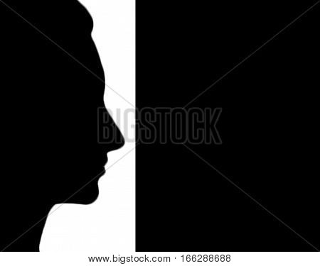 Abstract, abstraction background, art background, black and white abstract. Artistic abstraction. Woman face. Abstract art. Abstract artwork. Art. Woman face silhouette.