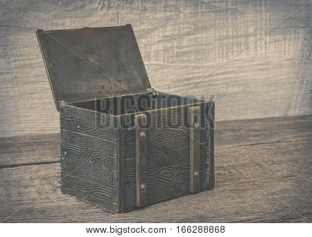 Old iron chest with the lid open