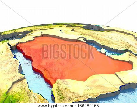Saudi Arabia On Earth In Red