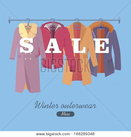 Winter outerwear sale web banner poster. Autumn winter old collection sale. Discount on stylish fashionable clothes from popular designers. Best world brands trends at low price. Christmas sale.