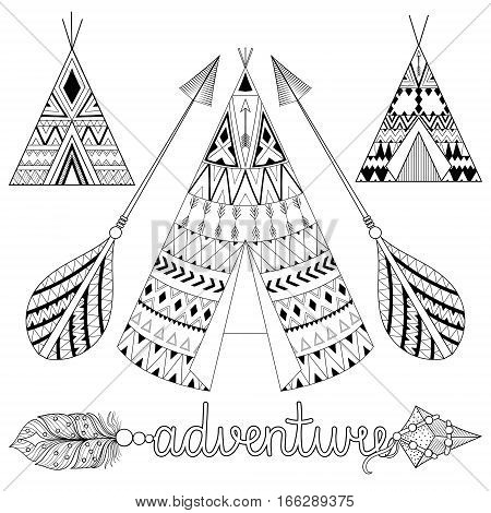 Hand drawn American native wigwam set with ethnic ornamental elements, adventure arrow with feathers and boho lettering. Teepee bohemian designs. Yurt, indian home vector illustration in zentangle tribal style.