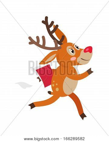 Cute deer hurry in business cartoon. Serious horned reindeer running with documents folder flat vector illustration isolated on white background. For animal icons, business concepts, logo, web design