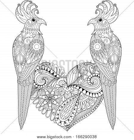 Exotic tropical zentangle bird lovely couple for adult anti stress coloring page, cockatoo parrots sitting on heart for art therapy, greeting card. Hand drawn patterned illustration for St Valentine day.