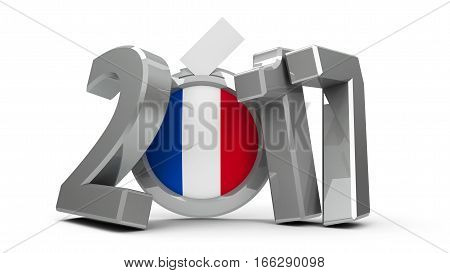 Figures 2017 with french flag badge isolated on white background represents Presidential Election 2017 in France three-dimensional rendering 3D illustration