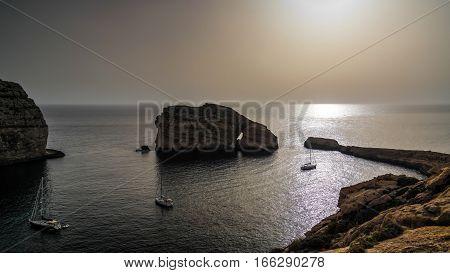 Panorama view to Dwejra bay and Mushroom aka Fungus rock Gozo Malta